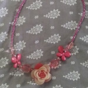 3 FOR $10 WOMENS PINK FLOWER NECKLACE